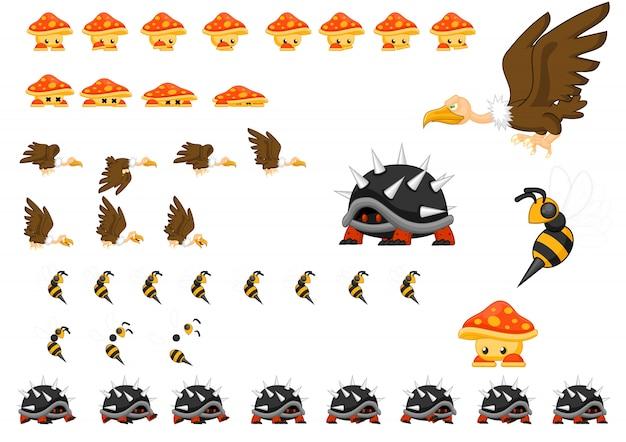Zestaw zwierząt postaci gry