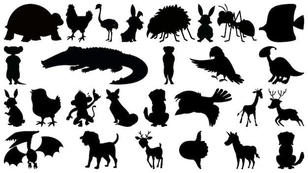 Zestaw zwierząt sylwetka