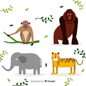 Zestaw zwierząt tropikalnych: małpa, goryl, słoń, tygrys. projekt płaski