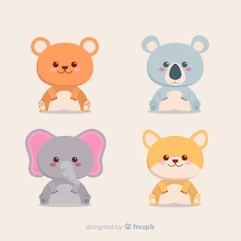 Zestaw zwierząt tropikalnych: niedźwiedź, koala, słoń, lis. projekt płaski