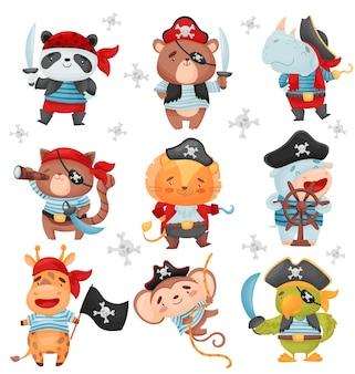 Zestaw zwierząt w strojach piratów
