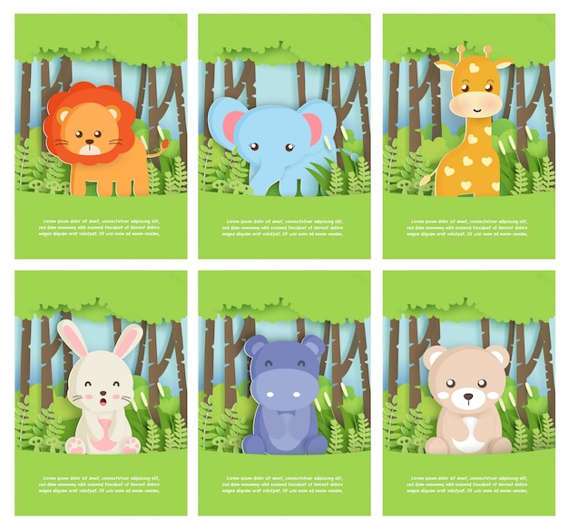 Zestaw zwierząt w zoo z lwem, słoniem, niedźwiedziem, królikiem, hipopotamem i żyrafą w lesie na kartkę urodzinową, pocztówkę. styl cięcia papieru.
