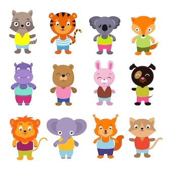 Zestaw zwierząt wektor ładny kreskówka dziecko