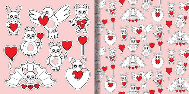 Zestaw zwierząt z nadrukiem serca i bezszwowym wzorem zabawki dla dzieci z napisami miłości na tapetę