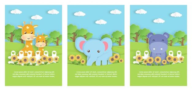 Zestaw zwierząt zoo ze słoniem, hipopotamem i żyrafą w ogrodzie na urodziny szablon karty, pocztówka. styl cięcia papieru.