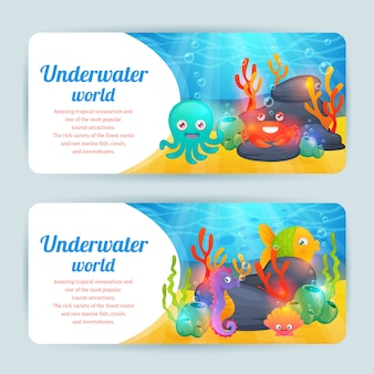 Zestaw zwierzęta poziome podwodne banery