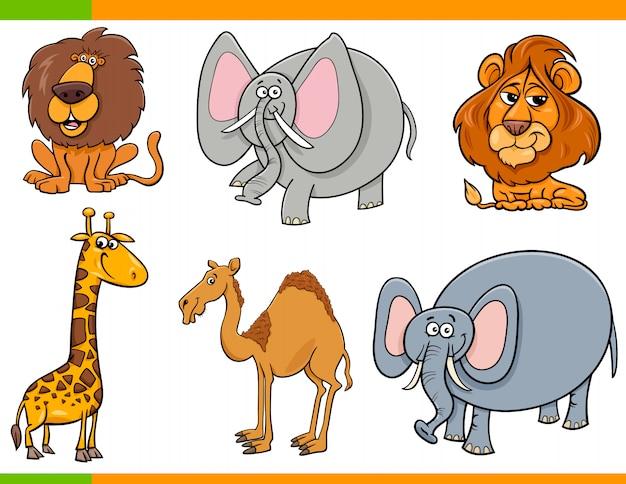 Zestaw zwierzęta śmieszne kreskówki safari
