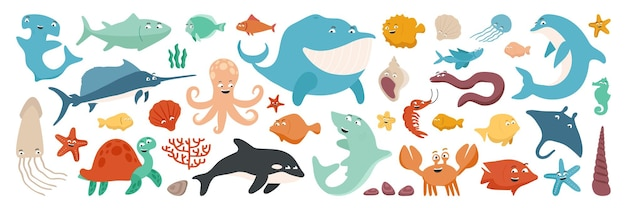 Zestaw życia morskiego w stylu cartoon płaski. żółw. węgorz. wieloryb. delfin. orka. rozgwiazda. krab. meduza. kałamarnica. krewetka. ryba. miecznik. tuńczyk. koral. ilustracja ryby młot.
