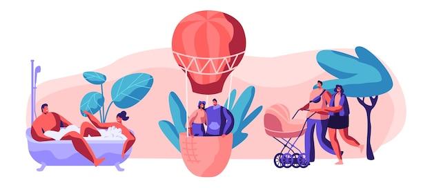 """Zestaw """"życie na szczęśliwą chwilę"""". mężczyzna i kobieta biorą kąpiel razem z bańką w łazience. młoda para zakochanych leci balonem w niebo. spacer z rodziną z wózkiem dziecięcym w parku. ilustracja wektorowa płaski kreskówka"""