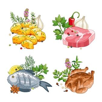 Zestaw żywności i posiłków z przyprawami
