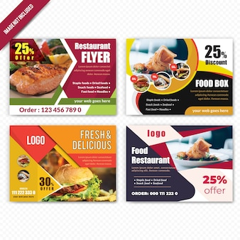 Zestaw żywności poziome ulotki dla restauracji