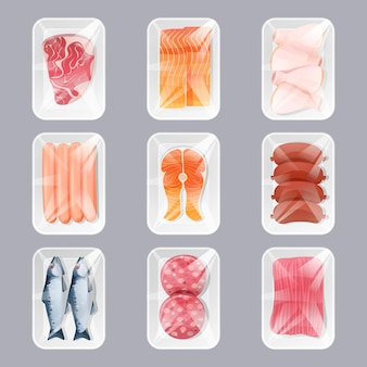 Zestaw żywności w plastikowych opakowaniach do sklepu na białym tle. produkty elementy projektu kreskówka widok z góry