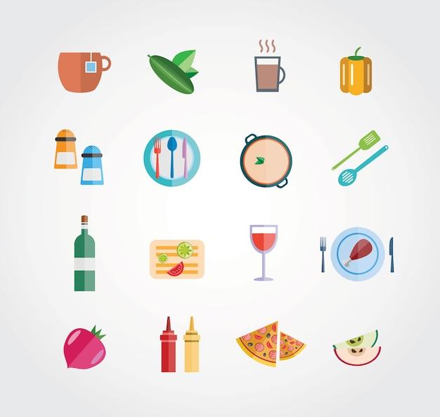 Zestaw żywności wektora swobodnego. ikony dla projektu