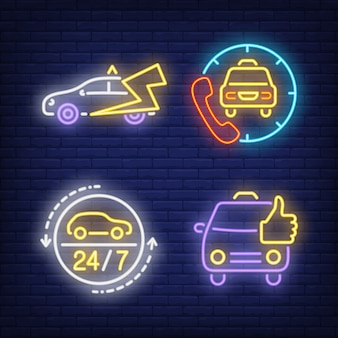 Zestawienie neonowych znaków taksówki