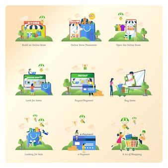 Zestawy kolekcji dla handlu elektronicznego, sklepu internetowego i rynku