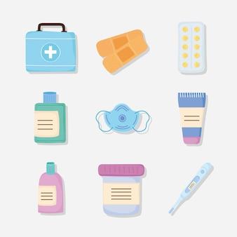 Zestawy leków dziewięć ikon