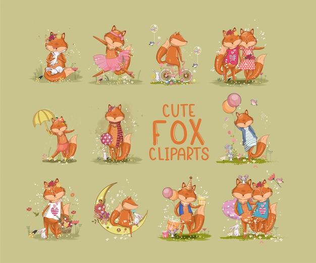Zestawy ślicznych clipartów lisa. ilustracje wektorowe