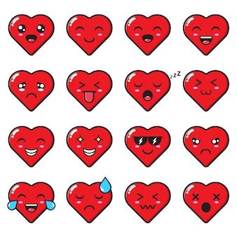 Zestawy uroczych emotikonów miłosnych