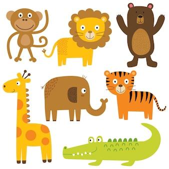 Zestawy uroczych zwierząt uroczych kreskówek zwierząt zoo