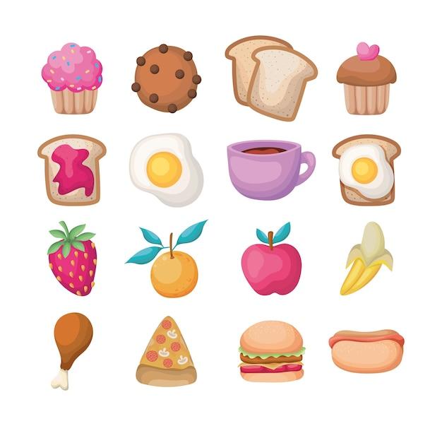 Zestawy wszelkiego rodzaju ikon żywności na białym tle.