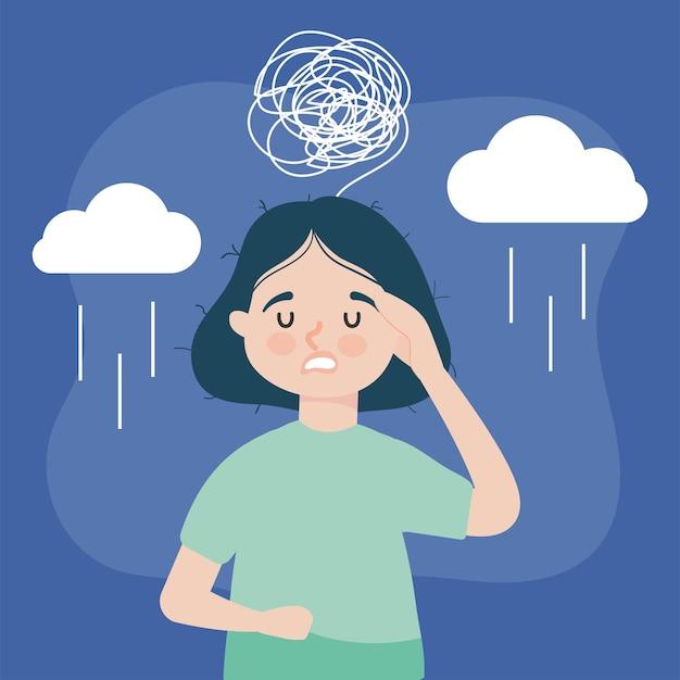 Zestresowana ilustracja kobiety