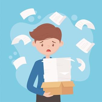 Zestresowane dokumenty pracownicze i spadające dokumenty praca biurowa