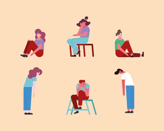Zestresowane kobiety i mężczyźni