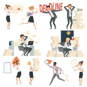Zestresowani ludzie biurowi. przepracowany termin czas zajęty menedżerów biznesowych nocy pracowników postaci z kreskówek