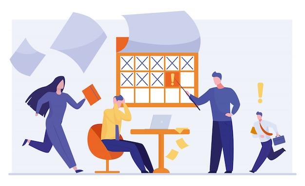 Zestresowani pracownicy biurowi pracujący w pośpiechu