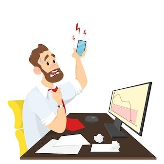 Zestresowany biznesmen lub pracownik biurowy siedzący przy biurku i patrząc na spadający wykres w panice. rozmowa z wściekłym klientem przez telefon. w stylu kreskówki.