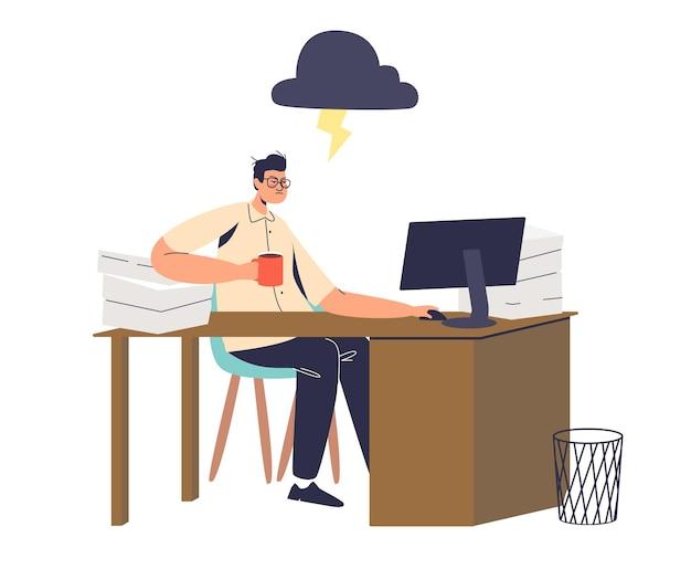 Zestresowany pracownik biurowy w miejscu pracy