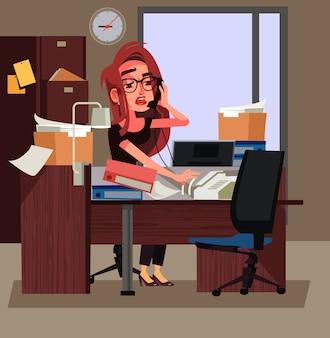 Zestresowany zmęczony pracownik biurowy biznesowa kobieta ciężko pracuje. wektor dni pracy