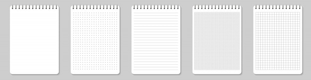 Zeszyty w linie i kropki strony papieru puste