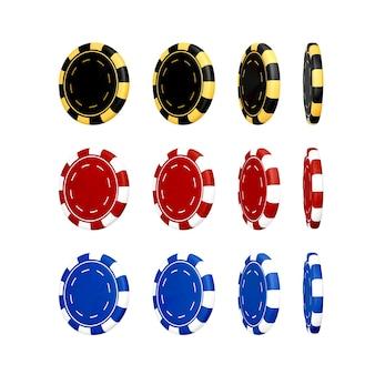 Żeton do kasyna w kolorze czarnym, niebieskim i czerwonym. 3d realistyczne renderowanie żetonów do pokera. hazard z tworzyw sztucznych na białym tle. ilustracja wektorowa