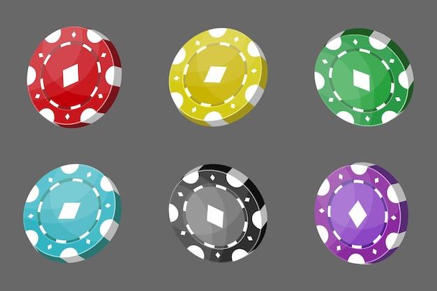 Żetony do kasyna do pokera lub ruletki. elementy do projektowania logo, strony internetowej lub tła. ilustracja wektorowa.