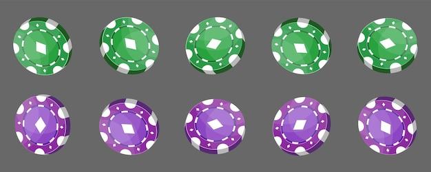 Żetony do kasyna do pokera lub ruletki. elementy w kolorze zielonym i fioletowym do projektowania logo, strony internetowej lub tła. ilustracja wektorowa.