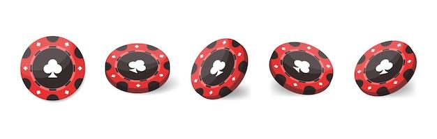 Żetony do kasyna do pokera lub ruletki. realistyczne 3d. elementy do projektowania logo, strony internetowej lub tła. ilustracja wektorowa na białym tle.