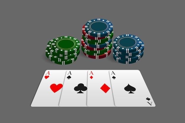 Żetony do kasyna i pokera w połączeniu z czterema asami. może służyć jako logo, baner, tło. ilustracja wektorowa w realistycznym stylu.