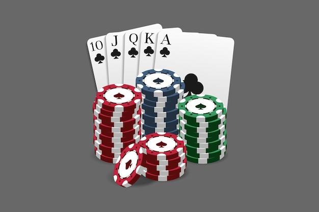 Żetony do kasyna i pokera w połączeniu z kartą royal flush. może służyć jako logo, baner, tło. ilustracja wektorowa w realistycznym stylu.