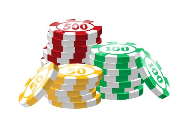 Żetony do pokera czerwony, zielony, żółty - nowoczesne wektor na białym tle clipart na białym tle. trzy stosy. kasyno, hazard, szczęście, koncepcja fortuny