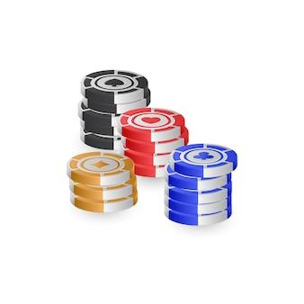 Żetony do pokera na białym tle na białym tle dla koncepcji kasyna. ilustracja