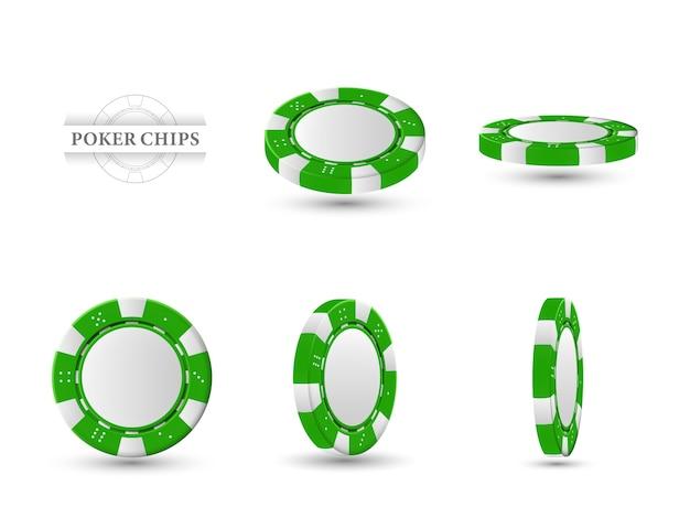 Żetony do pokera na różnych pozycjach. zielone frytki na białym tle na jasnym tle. ilustracja.