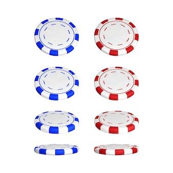 Żetony do pokera w innej pozycji. kolor czerwony i niebieski żetony kasyna na białym tle. ilustracja wektorowa