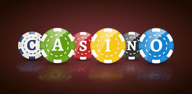 Żetony do pokera ze słowem casino