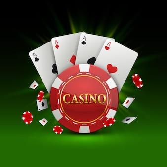 Żetony i karty baner kasyna. ilustracja wektorowa