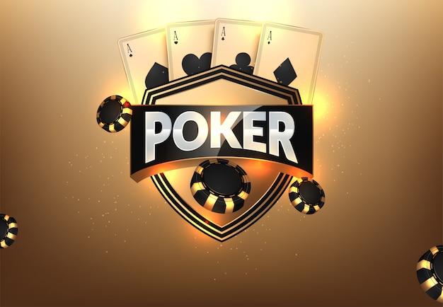 Żetony kasyna, karty i miejsce na tekst