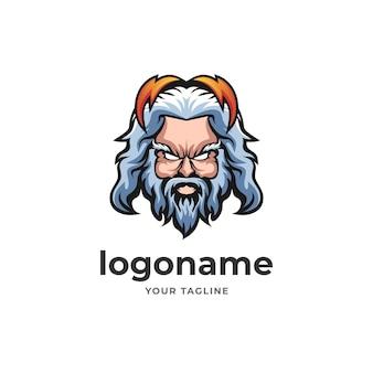 Zeus logo maskotka bóg błyskawica wojownik do e-sportowych gier
