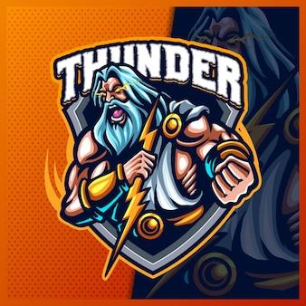 Zeus thunder god maskotka esport logo design ilustracje szablon wektor, grecja starożytnych bogów logo dla merch streamerów gier zespołowych, kolorowy styl kreskówki