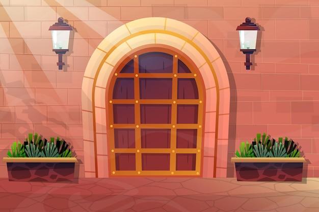 Zewnętrzna fasada domu z przednimi drewnianymi drzwiami ceglanego domu i lampą na ścianie, roślina doniczkowa w płaskim stylu