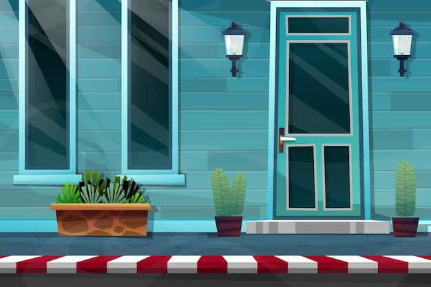 Zewnętrzna fasada domu z przednimi drewnianymi drzwiami domu z cegły i lampą na niebieskiej ścianie, szklanym oknie i roślinie doniczkowej na bocznej ulicy